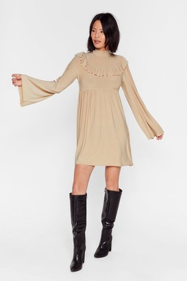 The One Nasty GalNasty Gal Womens You'Re Frill Relaxed Mini Dress - Beige - 4, Beige