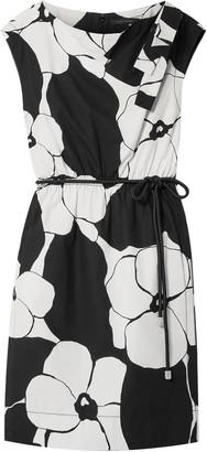 Marc Jacobs Belted Bow-embellished Floral-print Cotton-broadcloth Dress