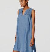 LOFT Petite Smocked Chambray Dress
