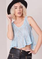 Missy Empire Jonna Blue Crochet Swing Cami Crop Top