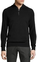 Ralph Lauren Ribbed Merino Wool Half-Zip Pullover, Black