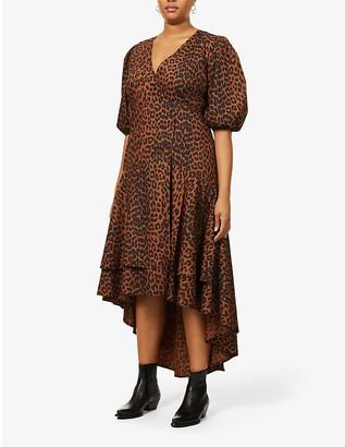 Ganni Leopard-print organic-cotton midi dress