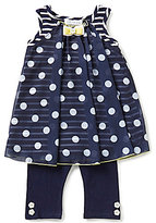 Bonnie Jean Little Girls 2T-6X Dotted Striped Dress and Solid Leggings Set