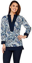 C. Wonder Paisley Foulard Print Long Sleeve Tunic w/ Solid Trim