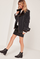 Missguided Fur Lined Pilot Jacket Black And Brown
