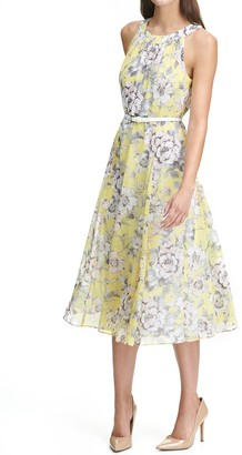 Tommy Hilfiger Floral Print Belted Midi Dress