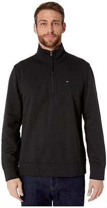 Tommy Hilfiger Adaptive Mock Neck with Extended Half Zipper Pull (Jet Black) Men's Clothing