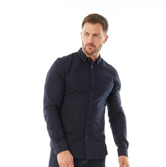 Onfire Mens Button Down Collar Long Sleeve Oxford Shirt Navy