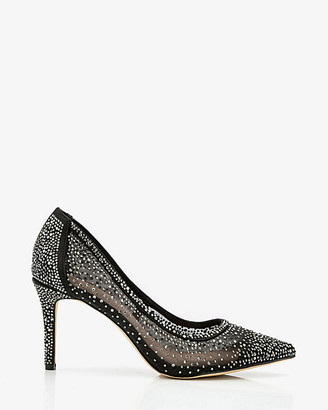 Le Château Jewel Embellished Mesh Pointy Toe Pump