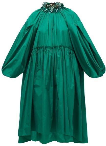 Biyan Aghea Crystal-collar Taffeta Dress - Green