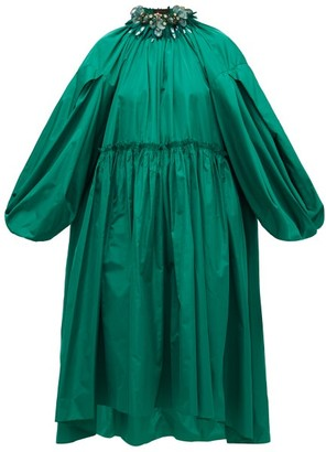 Biyan Aghea Crystal-collar Taffeta Dress - Green