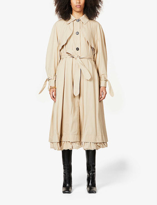 Patou Ruffled cotton-blend coat