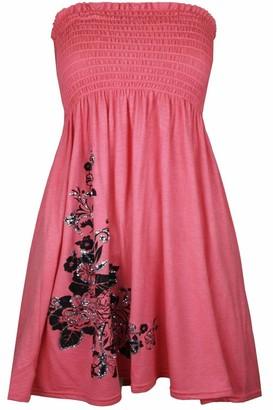 Real Life Fashion Ltd Womens Plain Sheering Boobtube Bandeau Strapless Short Dress Top#(Purple Plain Sheering Boobtube Top#UK 12-14#Womens)