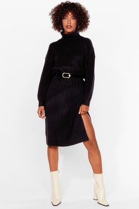 Nasty Gal Womens Roll Lotta Love Ribbed Knit Midi Dress - Black - S