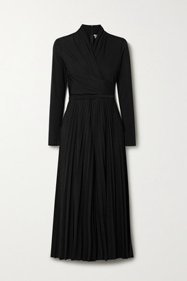 Max Mara Vieste Wrap-effect Pleated Crepe Jumpsuit - Black