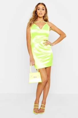 boohoo Strappy Detail Stretch Satin Dress