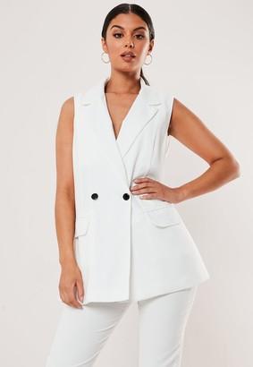 Missguided Petite White Sleeveless Long Blazer