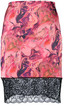 Marques Almeida Marques'almeida - lace detail printed skirt - women - Polyamide/Spandex/Elastane/Acetate - 8