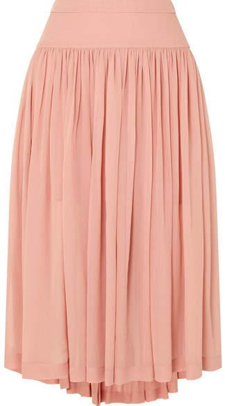 Stella McCartney Asymmetric Silk-georgette Midi Skirt - Blush