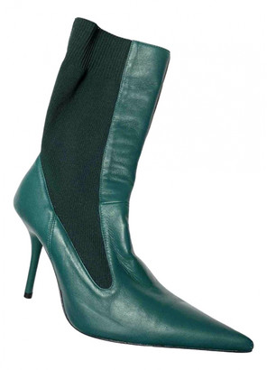 Uterque Turquoise Leather Ankle boots