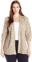 Notations Women's Plus Size Petite 3/4 Sleeve Open Front Nep Sweater Cardigan