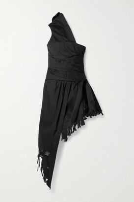 Alexander Wang - Asymmetric One-shoulder Distressed Denim Dress - Black