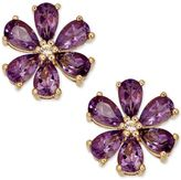 Macy's Amethyst (2-1/6 ct. t.w.) and Diamond Accent Stud Earrings in 14k Gold