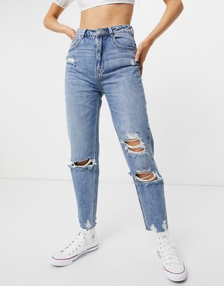 Pimkie mom jean with rips in blue