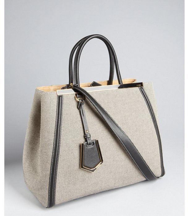 Fendi grey check canvas and leather '2Jours' convertible tote