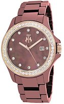 Jivago Women's JV9414 Ceramic Analog Display Quartz Brown Watch