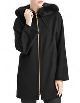 Sofia Cashmere Fox Fur-Trimmed Wool Coat with Dolman Sleeves