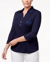 Karen Scott Plus Size Cotton Polo Top, Only at Macy's