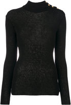 Balmain button-embellished turtleneck jumper