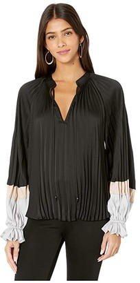 BCBGMAXAZRIA Color Block Plisse Blouse (Black Combo) Women's Blouse