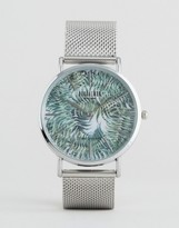Reclaimed Vintage Inspired Tiger Print Mesh Watch In Silver