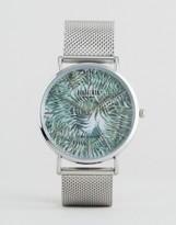 Reclaimed Vintage Tiger Print Mesh Watch In Silver
