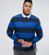 Asos PLUS Stripe Long Sleeve Rugby Polo in Heavyweight Jersey