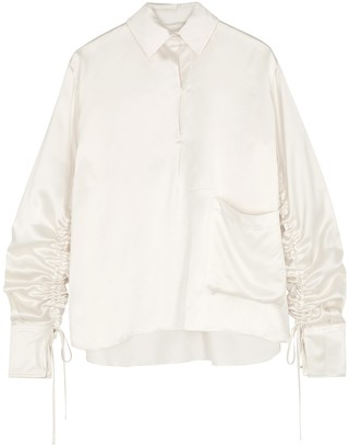 Mark Kenly Domino Tan Bine Ivory Ruched Satin Blouse