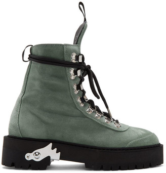 Off-White Off White Green Suede Hiking Boots