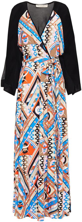Emilio Pucci Wrap-effect Paneled Printed Jersey Maxi Dress