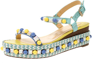 Christian Louboutin Multicolor Leather Cataconico Embellished Platform Ankle Strap Sandals Size 37