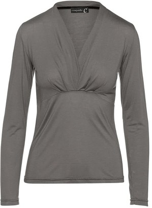 Conquista Dark Grey Cashmere Blend Long Sleeve Faux Wrap Top In Stretch Jersey Sustainable Fabric