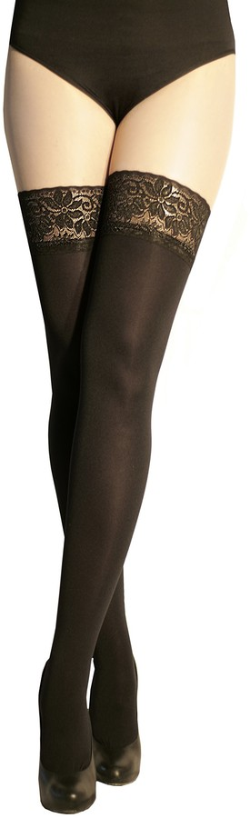 Marilyn Opaque hold-up tights with 9cm Lace 100 Denier - Black - 3/5