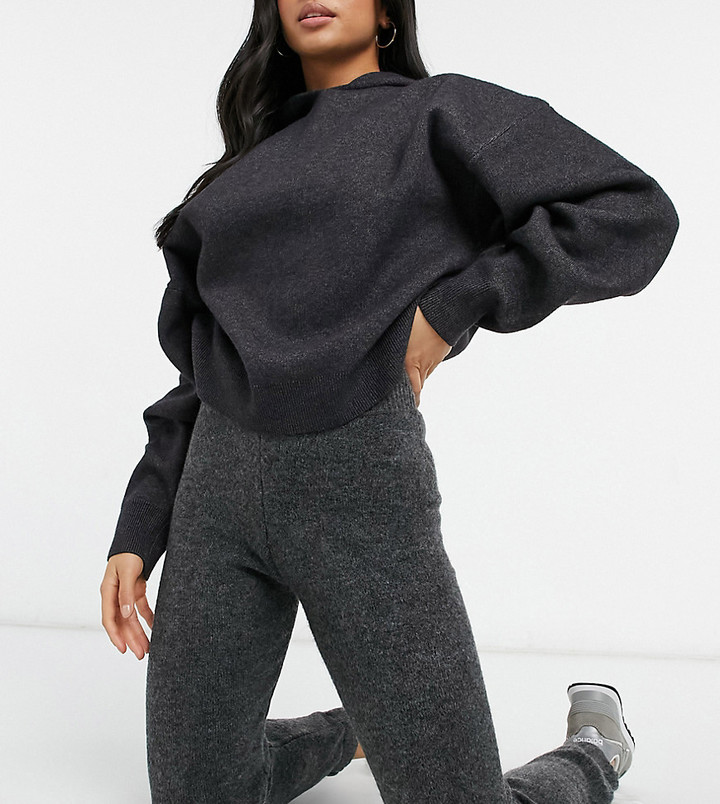 ASOS DESIGN Petite co-ord knitted jogger in fluffy yarn in charcoal