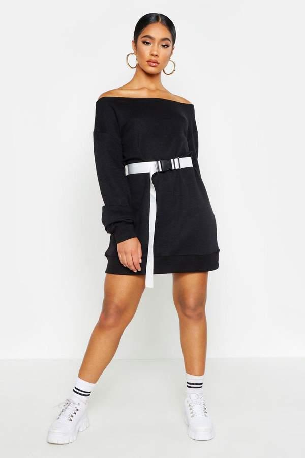 boohoo Off The Shoulder Sweat Dress
