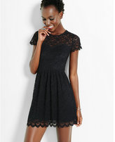 Express lace short sleeve fit & flare dress