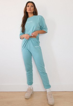Missguided Teal Oversized T Shirt And Joggers Co Ord Set