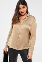 Missguided Plus Size Brown Satin Blouse