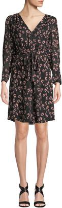 Rebecca Taylor Long-Sleeve Cheetah-Print V-Neck Dress