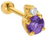 FreshTrends 3.5mm Alexandrite (June) w/ Diamond 14K Yellow Gold Cartilage Stud Earring